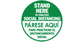 stand here to practice social distancing English Spanish 2