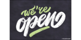 Chalk Design We're Open Sign