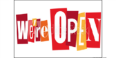 We're Open Block Letter Sign