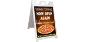 Pizza Dining Open Again Sidewalk Sign