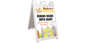 Bakery Dining Open Again Sidewalk Sign