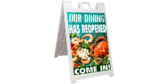 Seafood Dining Open Again Sidewalk Sign