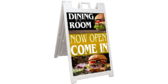 Hamburger Dining Now Open Sidewalk Sign