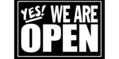 Yes We're Open Black Sign