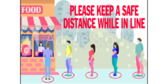 18x24 Maintain Distancing In Cafeteria Line
