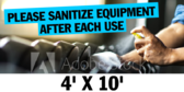Please Sanitize Exercise Equipment After Use 4x10 Gym Banner