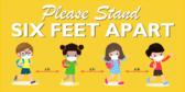 Please Stand Six Feet Apart Child Design Banner