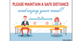 18x24 Maintain A Safe Distance In Elementary School Cafeteria Sign